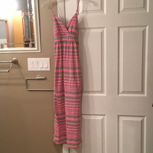 Hot pink and gray maxi dress